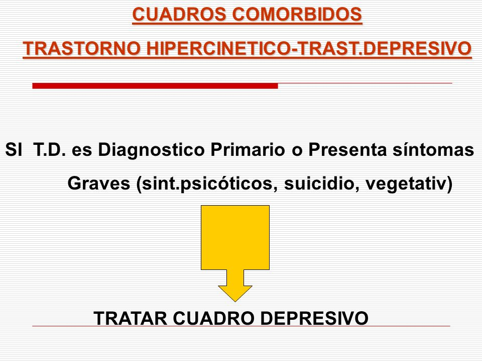 CUADROS COMORBIDOS TRASTORNO HIPERCINETICO-TRAST.DEPRESIVO SI T.D. es Diagnostico Primario o Presenta síntomas Graves (sint.psicóticos, suicidio, vege