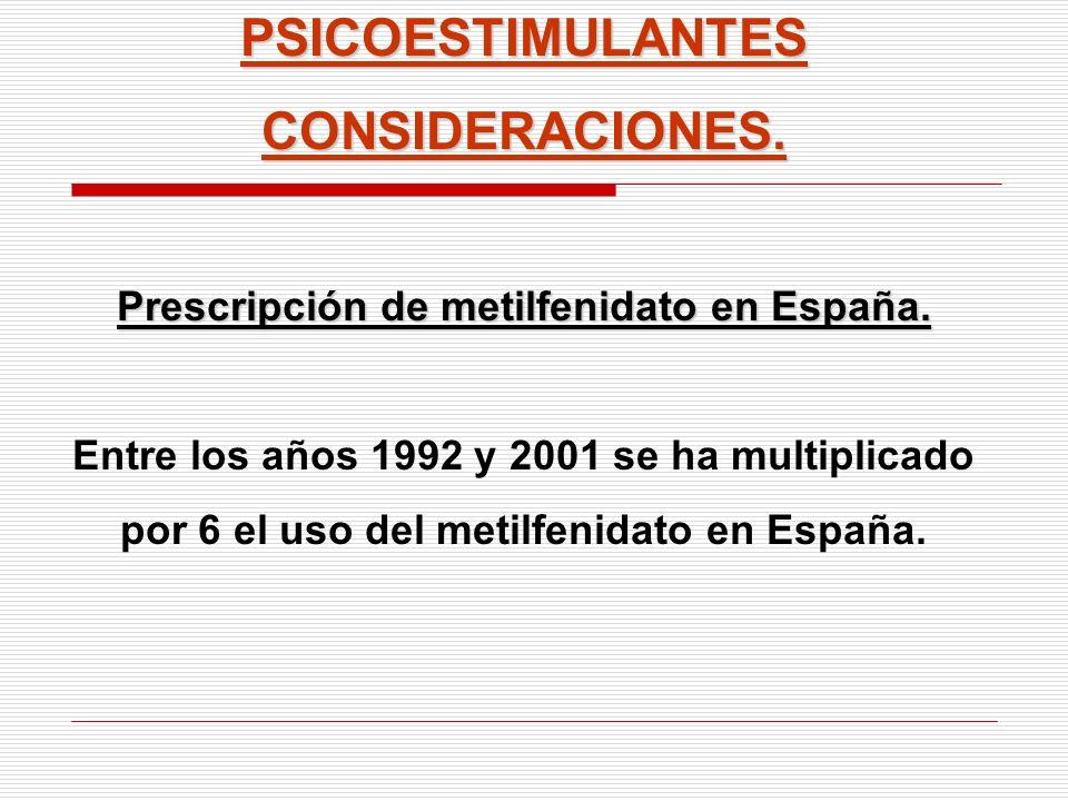 PSICOESTIMULANTESCONSIDERACIONES. Prescripción de metilfenidato en España. Entre los años 1992 y 2001 se ha multiplicado por 6 el uso del metilfenidat