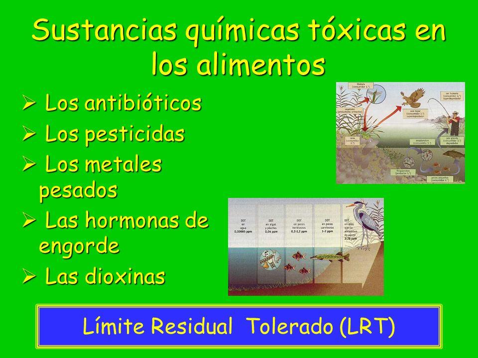 Sustancias químicas tóxicas en los alimentos Los antibióticos Los antibióticos Los pesticidas Los pesticidas Los metales pesados Los metales pesados L