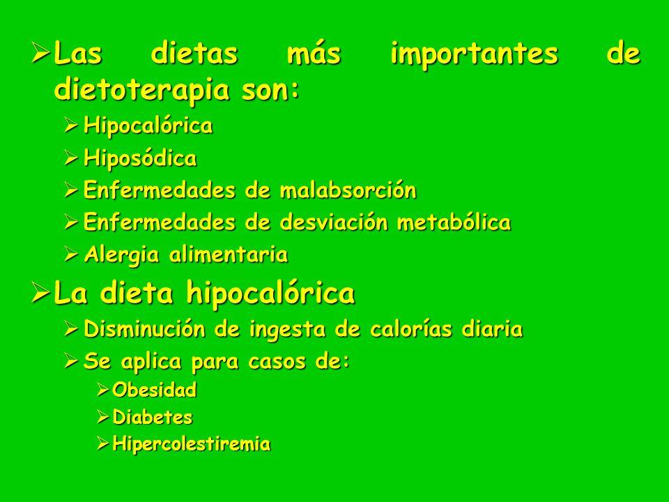 Las dietas más importantes de dietoterapia son: Las dietas más importantes de dietoterapia son: Hipocalórica Hipocalórica Hiposódica Hiposódica Enferm