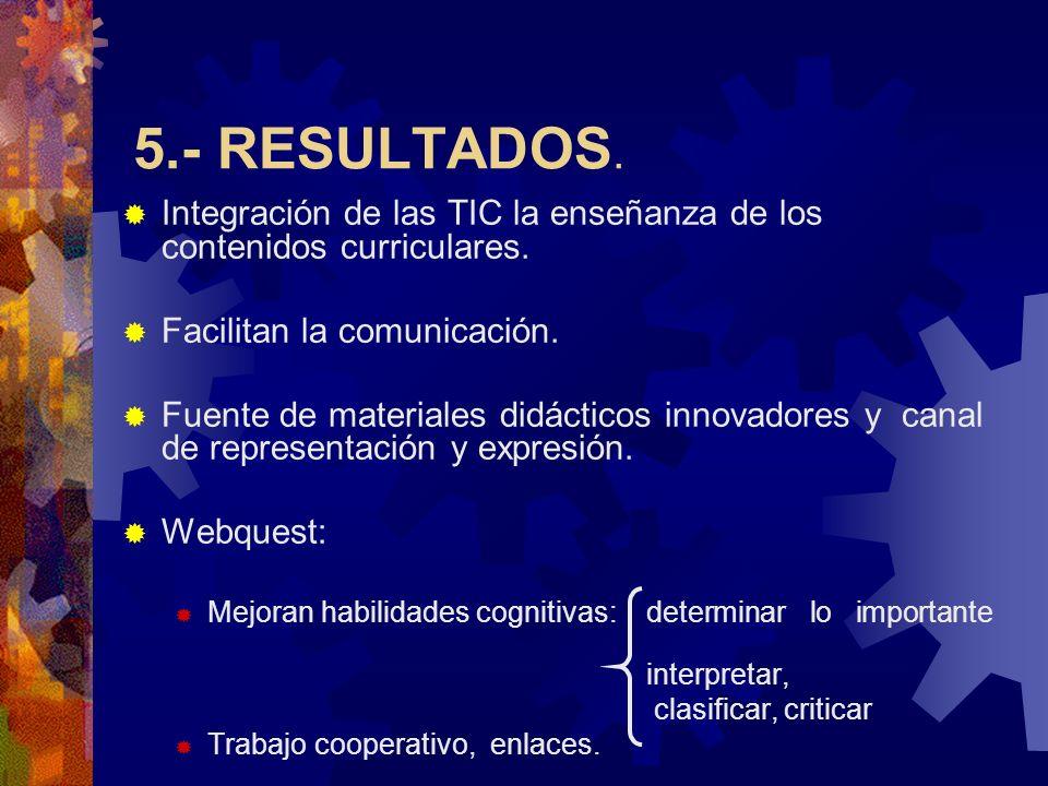 5.- RESULTADOS. Integración de las TIC la enseñanza de los contenidos curriculares. Facilitan la comunicación. Fuente de materiales didácticos innovad