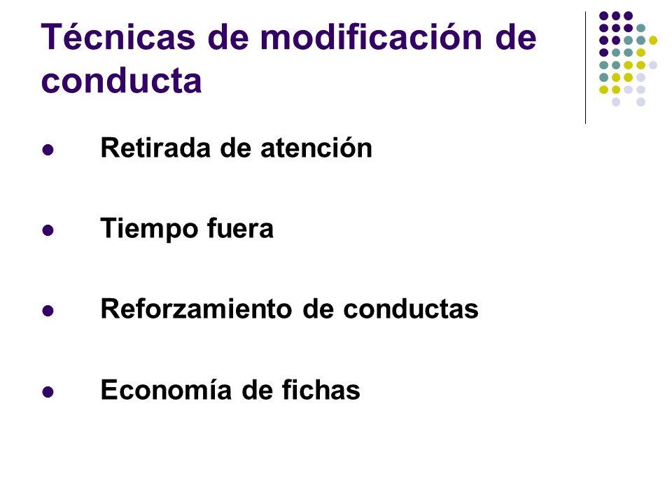 Técnicas de modificación de conducta Retirada de atención Tiempo fuera Reforzamiento de conductas Economía de fichas