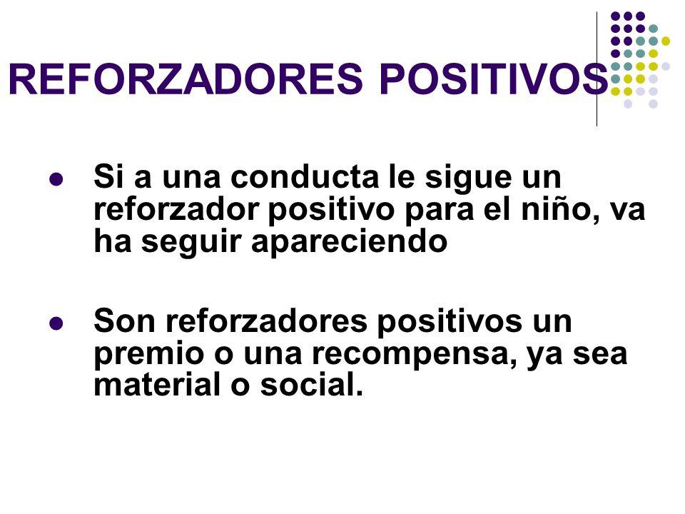 REFORZADORES POSITIVOS Si a una conducta le sigue un reforzador positivo para el niño, va ha seguir apareciendo Son reforzadores positivos un premio o