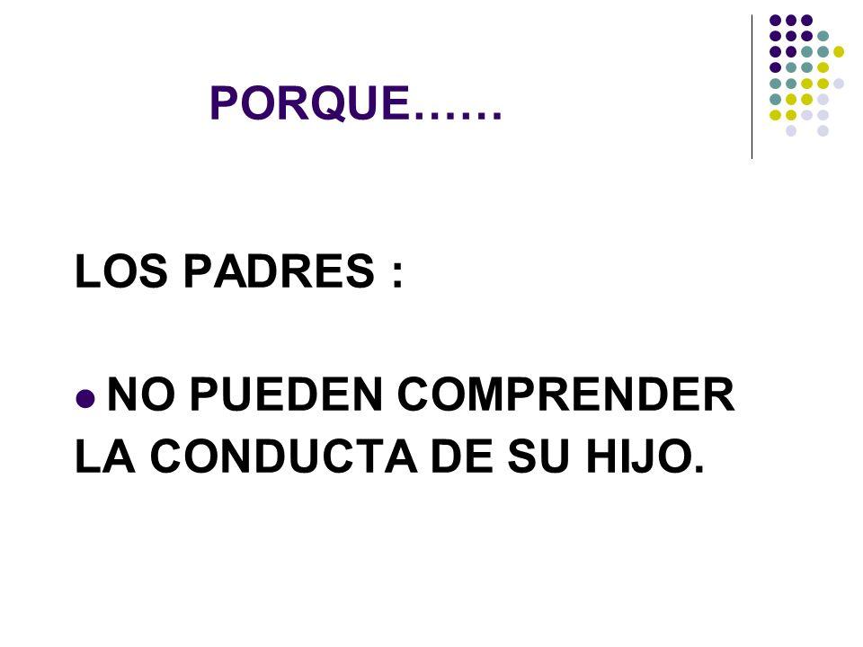 PORQUE…… LOS PADRES : NO PUEDEN COMPRENDER LA CONDUCTA DE SU HIJO.