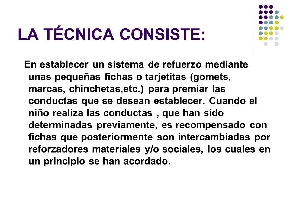 LA TÉCNICA CONSISTE: En establecer un sistema de refuerzo mediante unas pequeñas fichas o tarjetitas (gomets, marcas, chinchetas,etc.) para premiar la