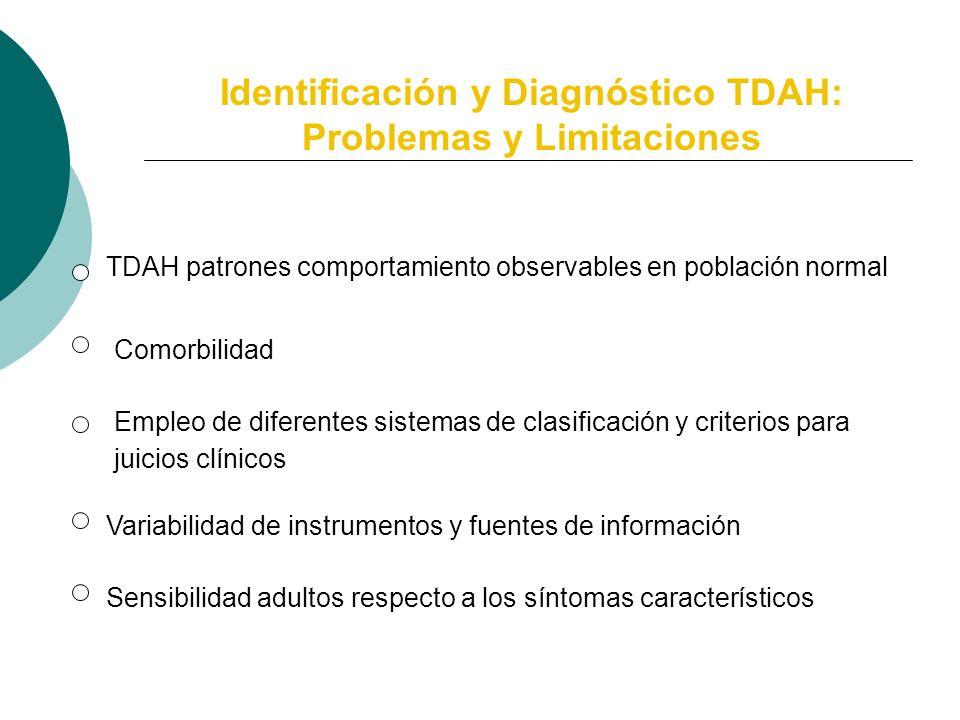 Diagnóstico TDAH: Problemas y Limitaciones Características del Trastorno Sistemas diagnósticos empleados Sensibilidad respecto a las características s