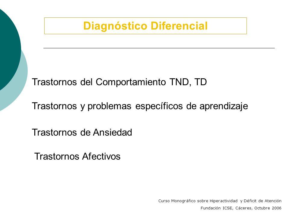 Comorbilidad TDAH - Trastornos del Aprendizaje (Tannock y Brown, 2003) Trastorno de la Lectura (15 - 30%) Trastorno del Cálculo (10 - 60%), ( muestras