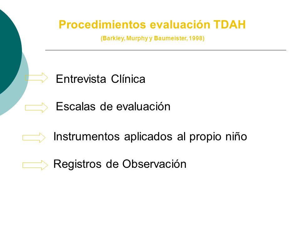 Evaluación TDAH: Áreas de interés (Moreno y Servera, 2002) Estado Clínico del niño Nivel intelectual y rendimiento académico Factores biológicos Condi