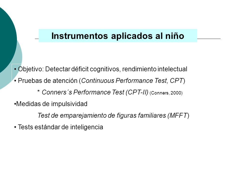 Escalas para padres y profesores Escala de Hiperactividad para padres y maestros de Conners (CPTR) (Goyette, Conners y Ulrich, 1978) ADHD-IV Rating Sc