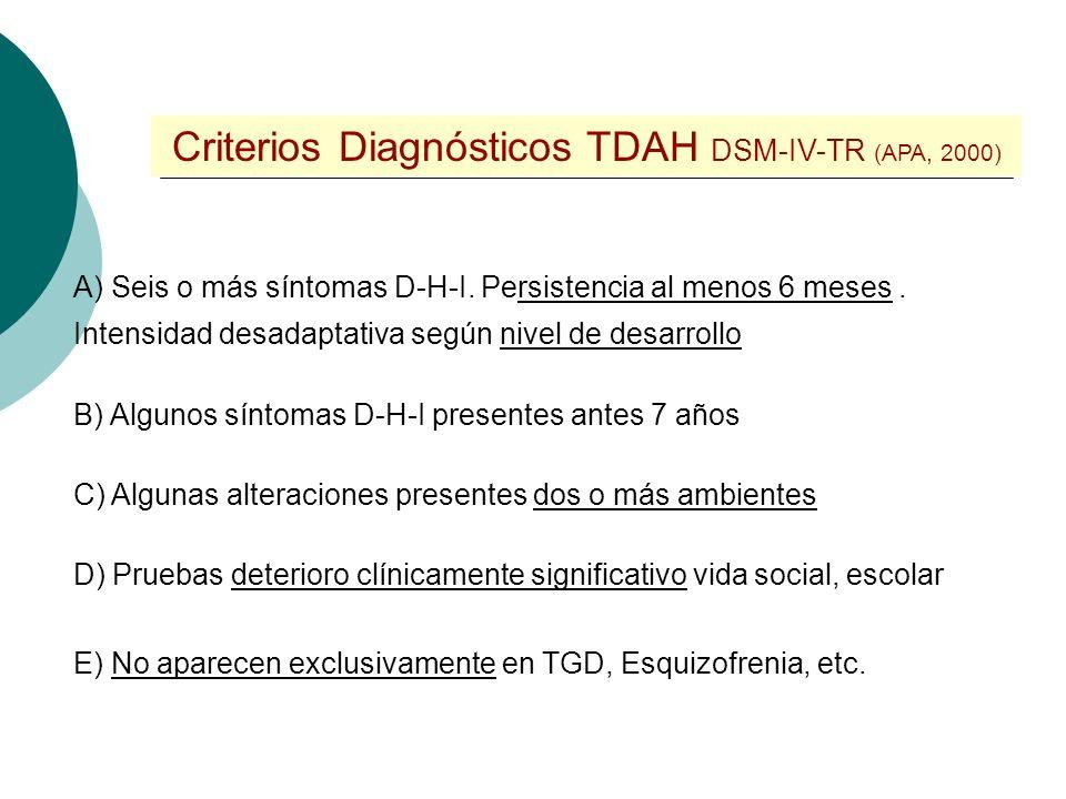 Síntomas Desatención e Hiperactividad / Impulsividad (DSM-IV-TR) (APA, 2000) A menudo... No presta atención suficiente a los detalles Dificultades man
