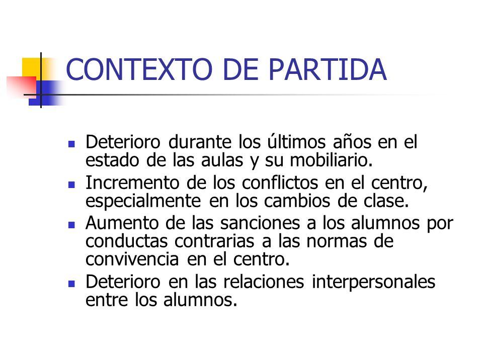 CONTEXTO DE PARTIDA Deterioro durante los últimos años en el estado de las aulas y su mobiliario. Incremento de los conflictos en el centro, especialm