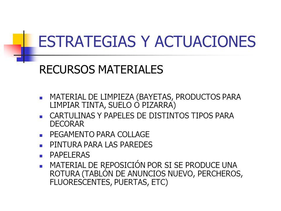 ESTRATEGIAS Y ACTUACIONES RECURSOS MATERIALES MATERIAL DE LIMPIEZA (BAYETAS, PRODUCTOS PARA LIMPIAR TINTA, SUELO O PIZARRA) CARTULINAS Y PAPELES DE DI
