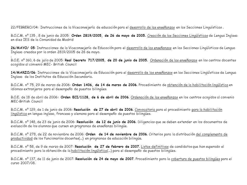 22/FEBRERO/04: Instrucciones de la Viceconsejería de educación para el desarrollo de las enseñanzas en las Secciones Linguísticas. B.O.C.M. nº 135, 8