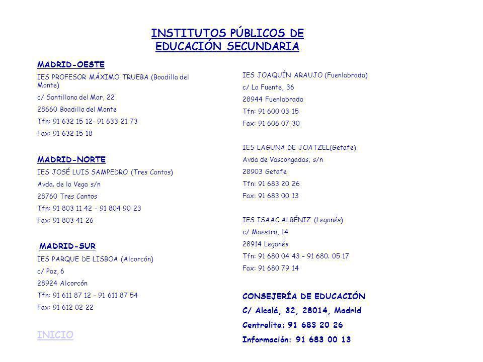 MADRID-OESTE IES PROFESOR MÁXIMO TRUEBA (Boadilla del Monte) c/ Santillana del Mar, 22 28660 Boadilla del Monte Tfn: 91 632 15 12- 91 633 21 73 Fax: 9