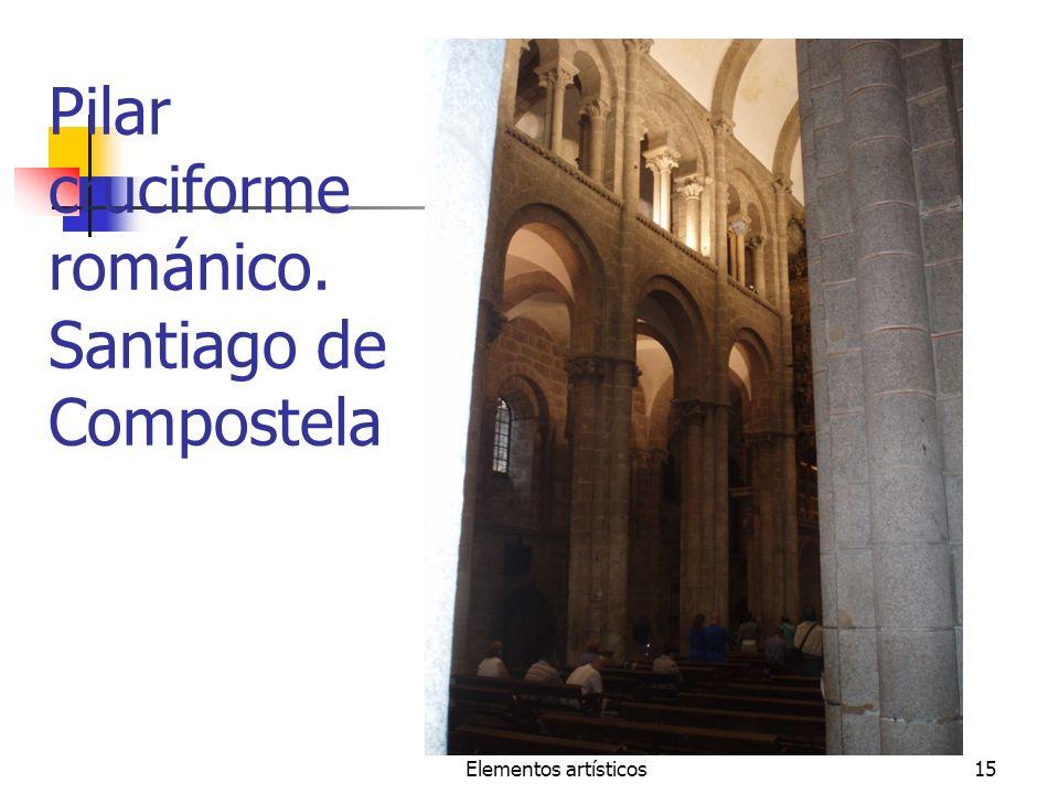 Elementos artísticos15 Pilar cruciforme románico. Santiago de Compostela