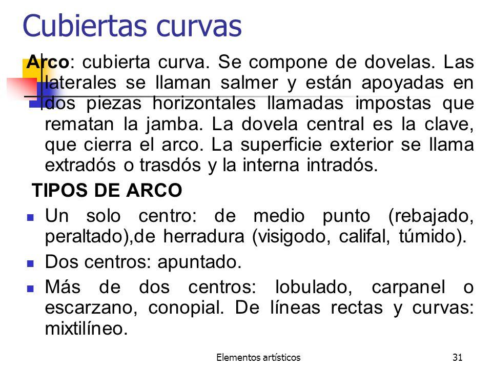 Elementos artísticos31 Cubiertas curvas Arco: cubierta curva. Se compone de dovelas. Las laterales se llaman salmer y están apoyadas en dos piezas hor