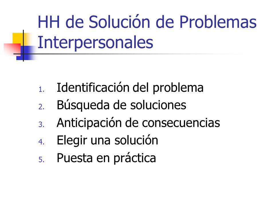 HH de Solución de Problemas Interpersonales 1. Identificación del problema 2. Búsqueda de soluciones 3. Anticipación de consecuencias 4. Elegir una so