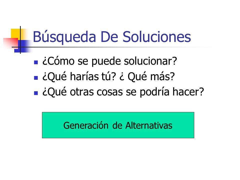 Búsqueda De Soluciones ¿Cómo se puede solucionar? ¿Qué harías tú? ¿ Qué más? ¿Qué otras cosas se podría hacer? Generación de Alternativas
