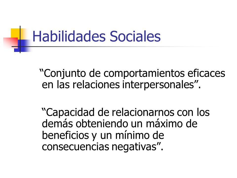 Habilidades Sociales Conjunto de comportamientos eficaces en las relaciones interpersonales. Capacidad de relacionarnos con los demás obteniendo un má