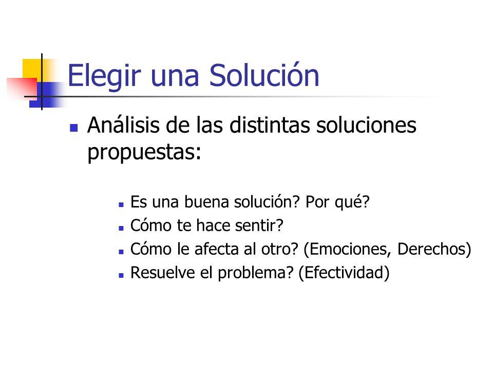 Elegir una Solución Análisis de las distintas soluciones propuestas: Es una buena solución? Por qué? Cómo te hace sentir? Cómo le afecta al otro? (Emo