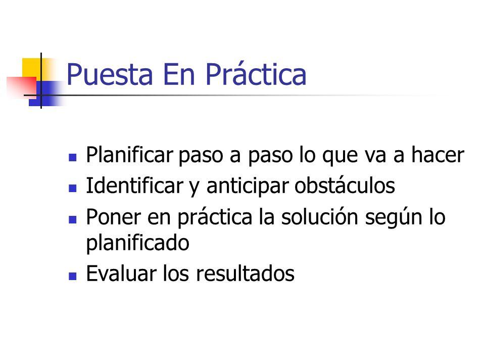 Puesta En Práctica Planificar paso a paso lo que va a hacer Identificar y anticipar obstáculos Poner en práctica la solución según lo planificado Eval
