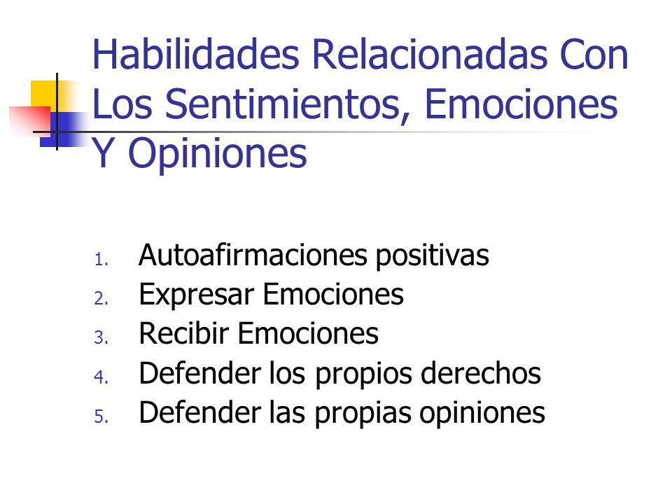 Habilidades Relacionadas Con Los Sentimientos, Emociones Y Opiniones 1. Autoafirmaciones positivas 2. Expresar Emociones 3. Recibir Emociones 4. Defen