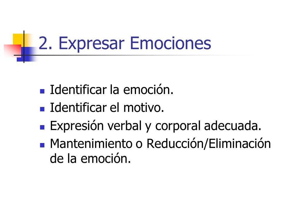 2. Expresar Emociones Identificar la emoción. Identificar el motivo. Expresión verbal y corporal adecuada. Mantenimiento o Reducción/Eliminación de la