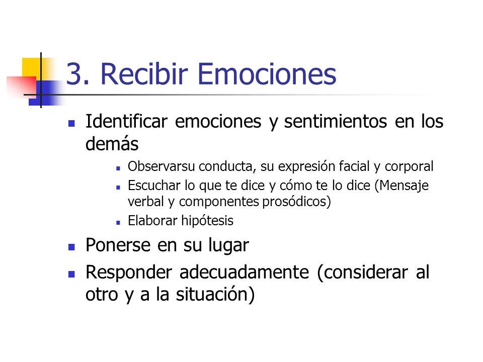 3. Recibir Emociones Identificar emociones y sentimientos en los demás Observarsu conducta, su expresión facial y corporal Escuchar lo que te dice y c