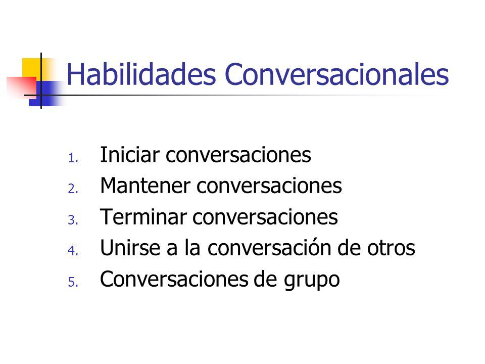 Habilidades Conversacionales 1. Iniciar conversaciones 2. Mantener conversaciones 3. Terminar conversaciones 4. Unirse a la conversación de otros 5. C