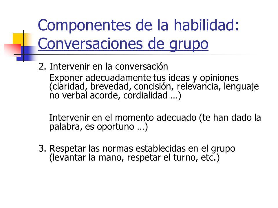 Componentes de la habilidad: Conversaciones de grupo 2. Intervenir en la conversación Exponer adecuadamente tus ideas y opiniones (claridad, brevedad,