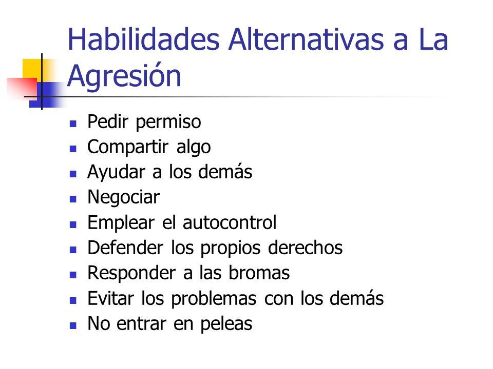 Habilidades Alternativas a La Agresión Pedir permiso Compartir algo Ayudar a los demás Negociar Emplear el autocontrol Defender los propios derechos R