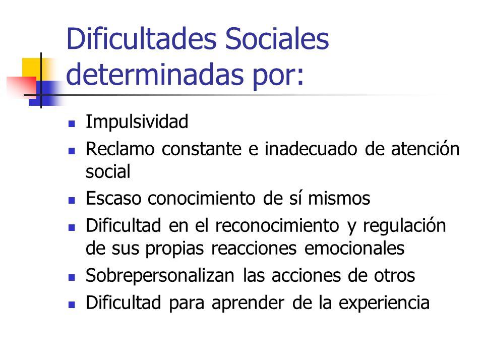 Dificultades Sociales determinadas por: Impulsividad Reclamo constante e inadecuado de atención social Escaso conocimiento de sí mismos Dificultad en