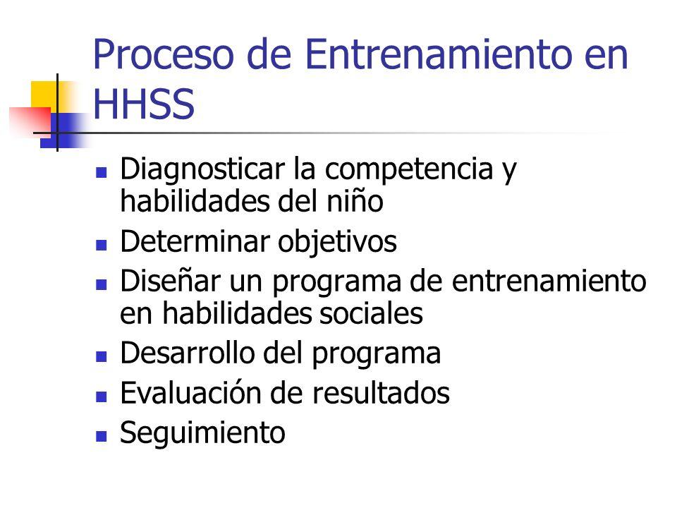 Proceso de Entrenamiento en HHSS Diagnosticar la competencia y habilidades del niño Determinar objetivos Diseñar un programa de entrenamiento en habil