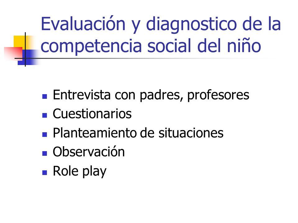 Evaluación y diagnostico de la competencia social del niño Entrevista con padres, profesores Cuestionarios Planteamiento de situaciones Observación Ro