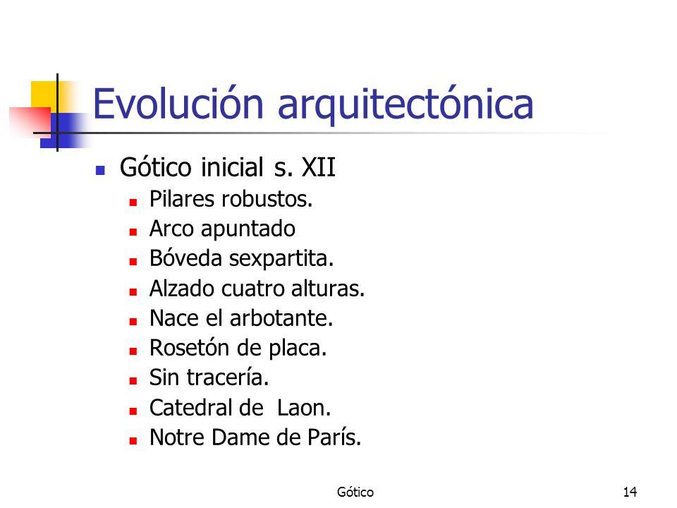 Gótico14 Evolución arquitectónica Gótico inicial s. XII Pilares robustos. Arco apuntado Bóveda sexpartita. Alzado cuatro alturas. Nace el arbotante. R