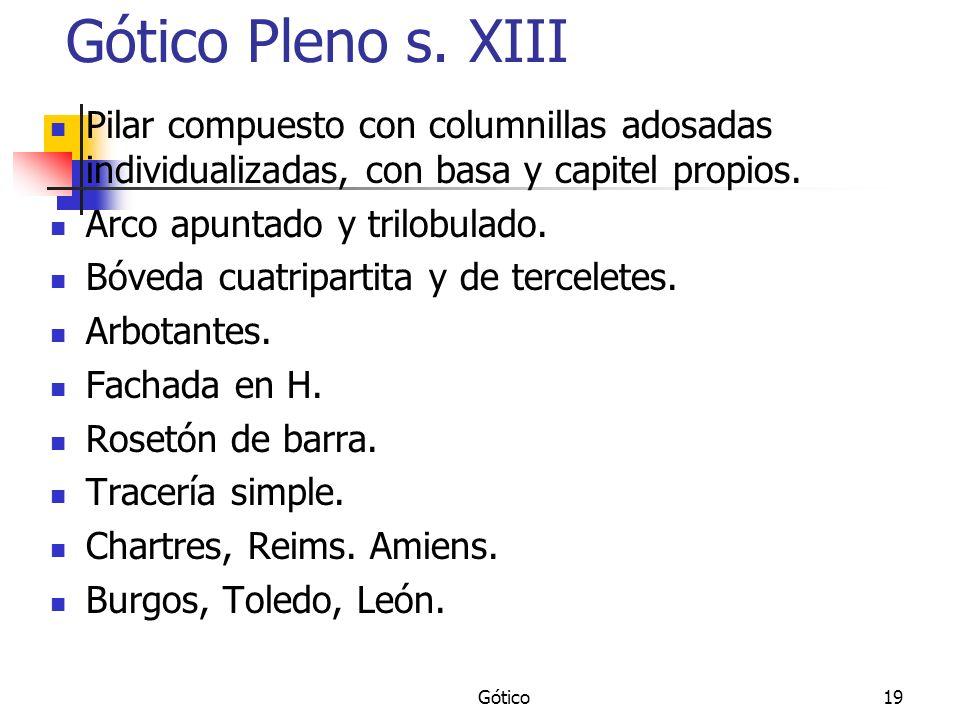Gótico19 Gótico Pleno s. XIII Pilar compuesto con columnillas adosadas individualizadas, con basa y capitel propios. Arco apuntado y trilobulado. Bóve