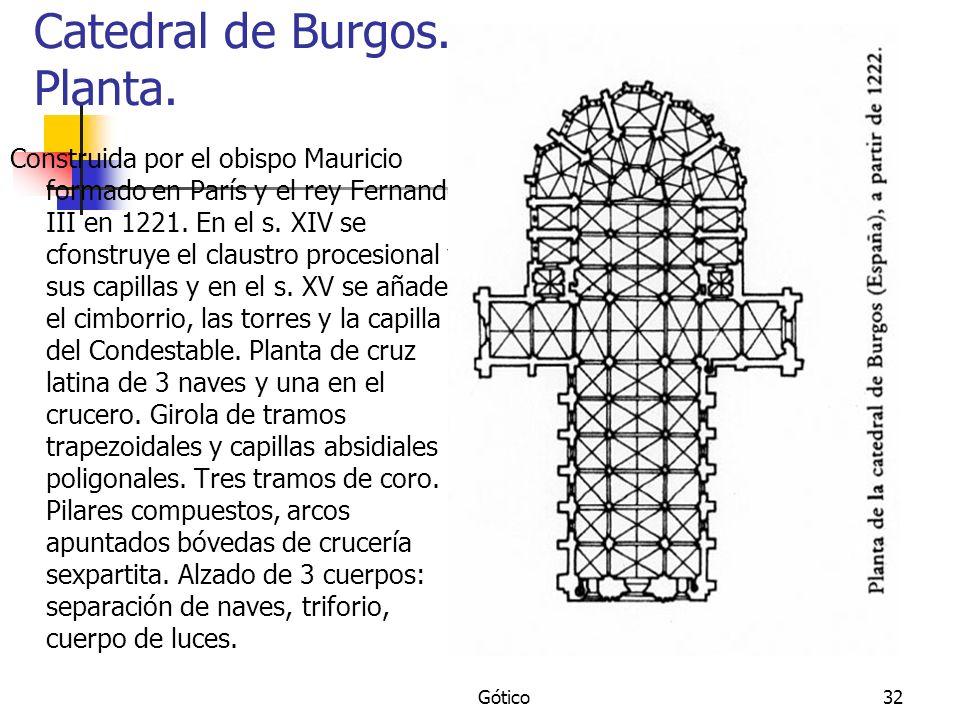 Gótico32 Catedral de Burgos. Planta. Construida por el obispo Mauricio formado en París y el rey Fernando III en 1221. En el s. XIV se cfonstruye el c