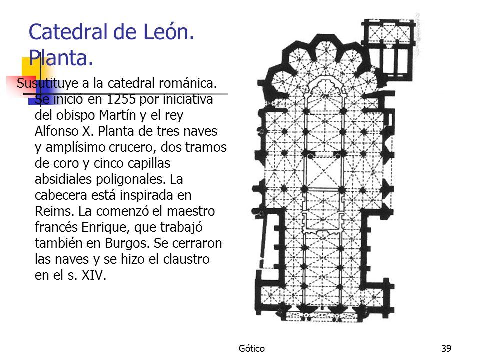 Gótico39 Catedral de León. Planta. Susutituye a la catedral románica. Se inició en 1255 por iniciativa del obispo Martín y el rey Alfonso X. Planta de