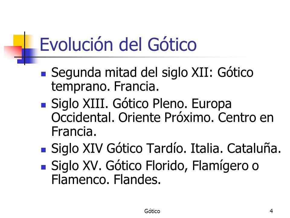 Gótico4 Evolución del Gótico Segunda mitad del siglo XII: Gótico temprano. Francia. Siglo XIII. Gótico Pleno. Europa Occidental. Oriente Próximo. Cent