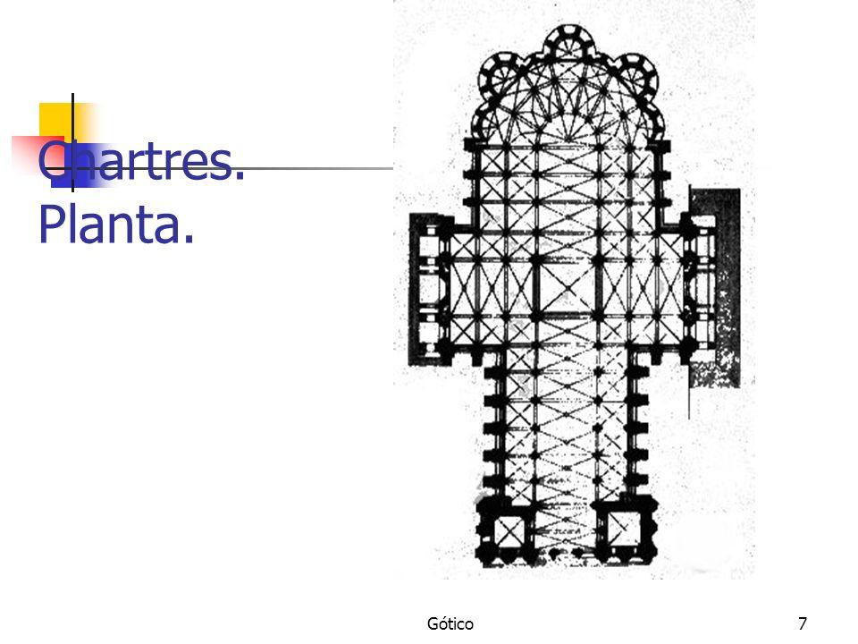 Gótico8 Chartres:Arco apuntado y bóveda de crucería.
