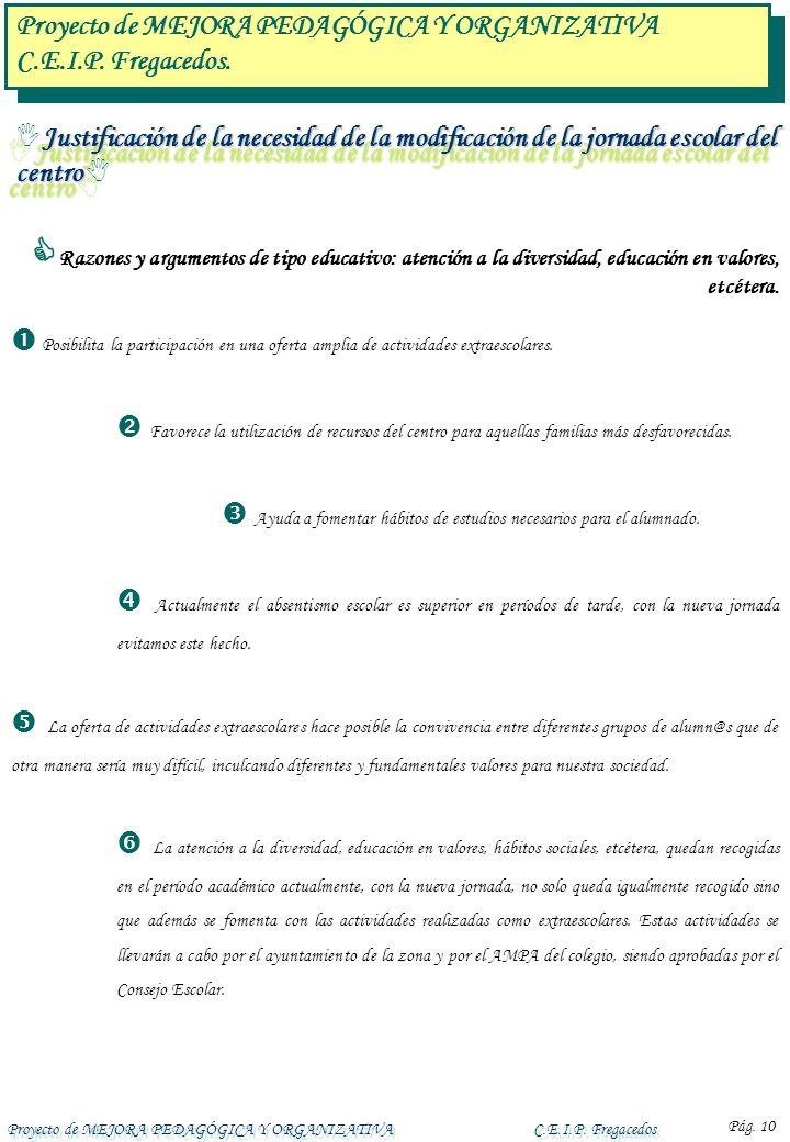 Proyecto de MEJORA PEDAGÓGICA Y ORGANIZATIVAC.E.I.P. Fregacedos Pág. 10 Razones y argumentos de tipo educativo: atención a la diversidad, educación en