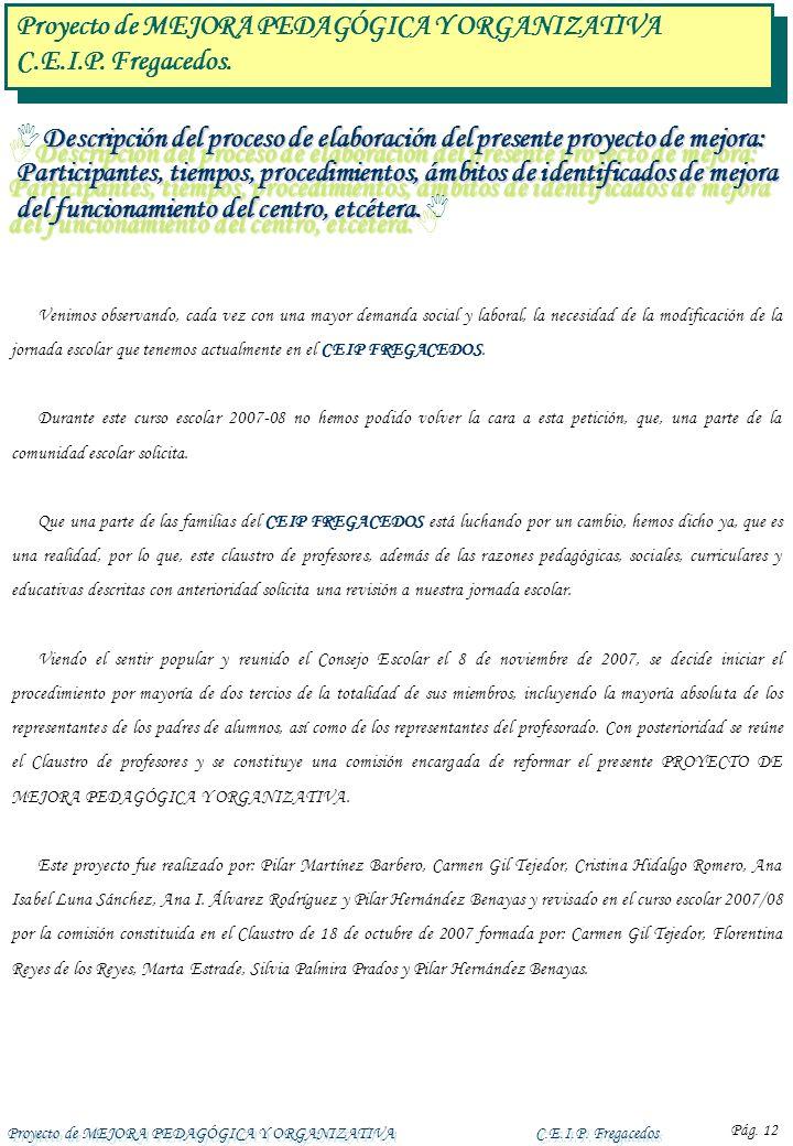 Proyecto de MEJORA PEDAGÓGICA Y ORGANIZATIVAC.E.I.P. Fregacedos Pág. 12 Descripción del proceso de elaboración del presente proyecto de mejora: Partic