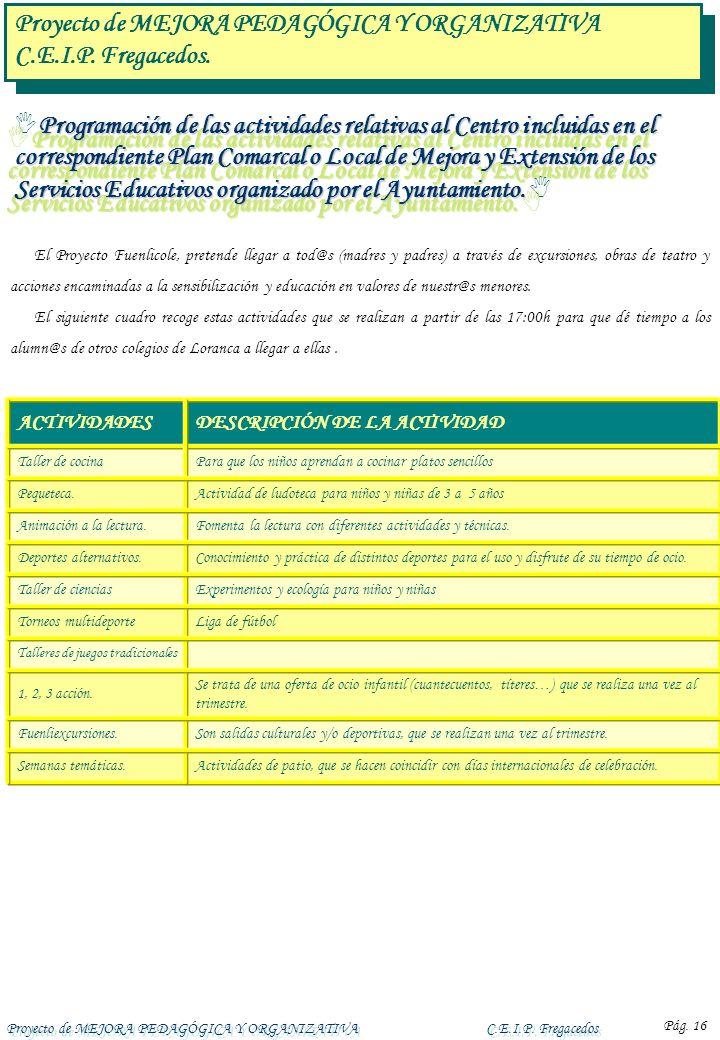 Proyecto de MEJORA PEDAGÓGICA Y ORGANIZATIVAC.E.I.P. Fregacedos Pág. 16 Programación de las actividades relativas al Centro incluidas en el correspond