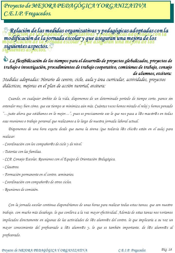 Proyecto de MEJORA PEDAGÓGICA Y ORGANIZATIVAC.E.I.P. Fregacedos Pág. 18 Relación de las medidas organizativas y pedagógicas adoptadas con la modificac