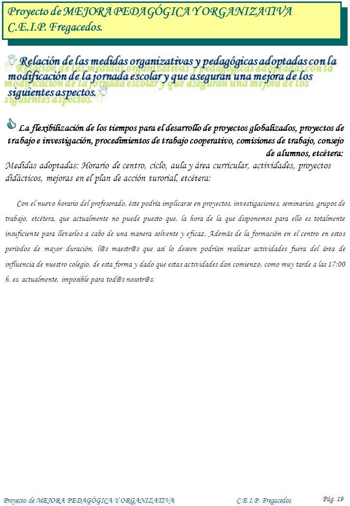 Proyecto de MEJORA PEDAGÓGICA Y ORGANIZATIVAC.E.I.P. Fregacedos Pág. 19 Relación de las medidas organizativas y pedagógicas adoptadas con la modificac