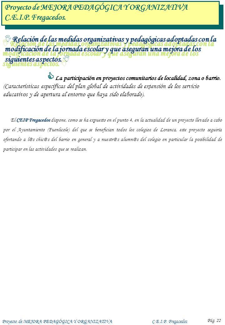 Proyecto de MEJORA PEDAGÓGICA Y ORGANIZATIVAC.E.I.P. Fregacedos Pág. 22 Relación de las medidas organizativas y pedagógicas adoptadas con la modificac