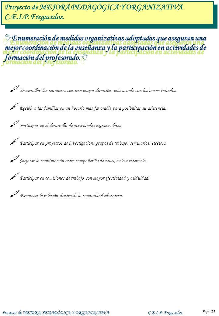 Proyecto de MEJORA PEDAGÓGICA Y ORGANIZATIVAC.E.I.P. Fregacedos Pág. 23 Enumeración de medidas organizativas adoptadas que aseguran una mejor coordina