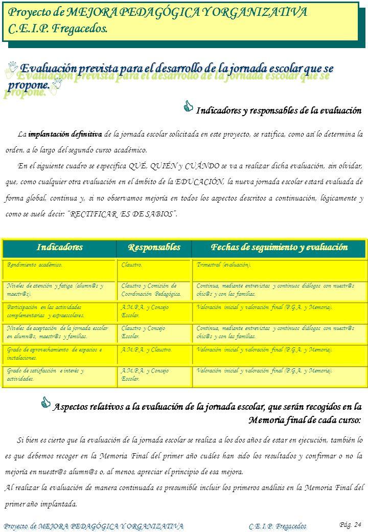 Proyecto de MEJORA PEDAGÓGICA Y ORGANIZATIVAC.E.I.P. Fregacedos Pág. 24 Evaluación prevista para el desarrollo de la jornada escolar que se propone. E
