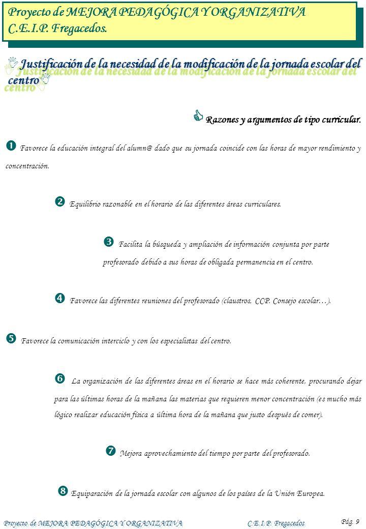 Proyecto de MEJORA PEDAGÓGICA Y ORGANIZATIVAC.E.I.P. Fregacedos Pág. 9 Razones y argumentos de tipo curricular. Favorece la educación integral del alu