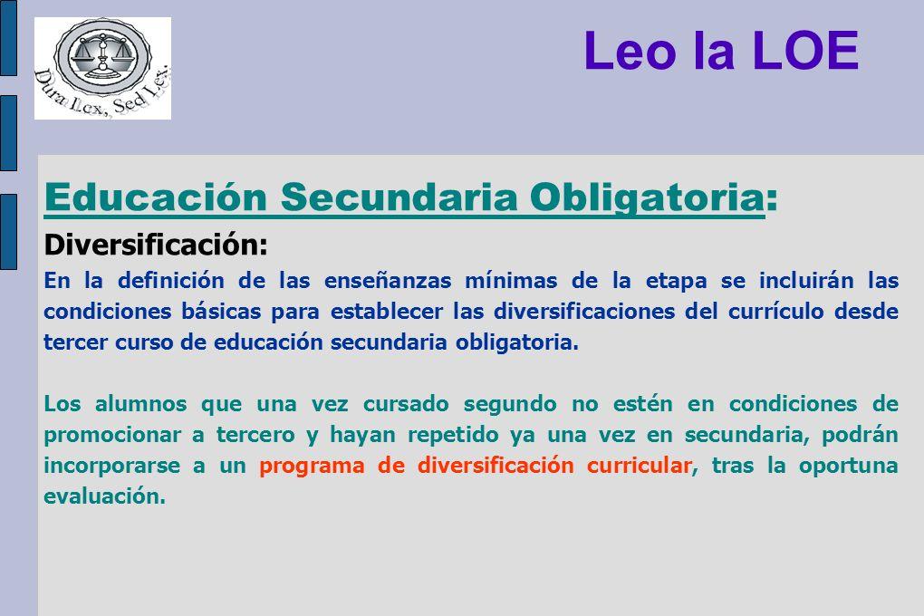 Leo la LOE Educación Secundaria Obligatoria: Diversificación: En la definición de las enseñanzas mínimas de la etapa se incluirán las condiciones bási